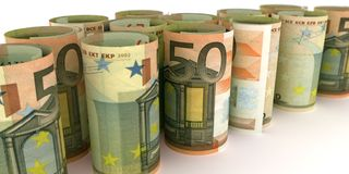 50 Euro Notes Rolls. 50 Euro Note Rolls - 3d illustration stock illustration