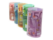 Euro notes in a row. 10, 20, 50, 100 and 500 euro notes in a row, isolated in white Royalty Free Stock Image