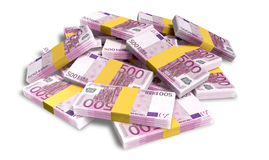 Euro Notes Scattered Pile. A pile of randomly scattered wads of european euro banknotes on an isolated background Royalty Free Stock Photography