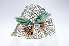Euro notes sous forme de papillons sur la feuille éclatante décorative Photographie stock