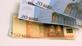 Euro notes in super slow motion moving Stock Image