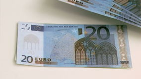 Euro notes in super slow motion rising up Stock Photography