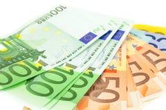 Euro notes sur le fond blanc Photographie stock