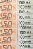 euro 50 och 100 Arkivbild