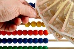 Euro och abaucus Fotografering för Bildbyråer