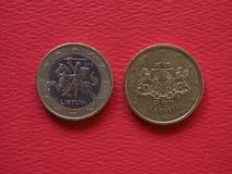 1 euro och 50 centmynt, europeisk union Royaltyfria Bilder