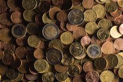 Euro- och centmyntsamling royaltyfri foto