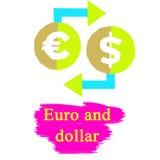 Euro och dolar stock illustrationer