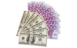 Euro och dollar Arkivfoton