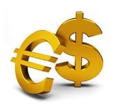 Euro och dollar Fotografering för Bildbyråer