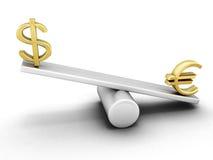 Euro och dollar på en gunga Royaltyfri Bild