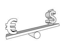 Euro och dollar på gungbrädet bakgrundsbegreppet bantar guld- äggfinans royaltyfri fotografi