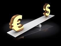 Euro och dollar på skala Arkivfoto