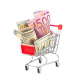 Euro och dollar shoppingvagn Royaltyfri Bild