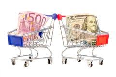 Euro och dollar shoppingvagn Royaltyfria Foton