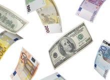 Euro- och dollarräkningcollage som isoleras på vit Arkivfoto
