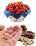 Euro och jordgubbar Arkivbilder