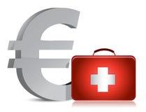 Euro och läkarundersökningsats stock illustrationer