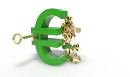 Euro och låsbegrepp, 3d vektor illustrationer