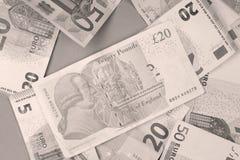 Euro och pund bakgrund Arkivfoton