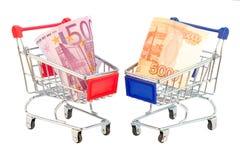 Euro och rubel i shoppingvagn Royaltyfria Bilder