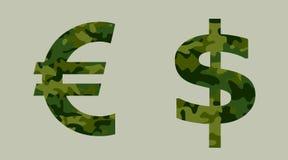 Euro och US dollar och militär royaltyfri illustrationer
