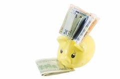 Euro- och USA dollarräkningar i den isolerade spargrisen Royaltyfria Bilder