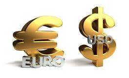 Euro och USD U S tolkning för dollar 3d Arkivbild
