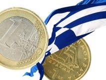 Euro oder Drachme Stockfoto