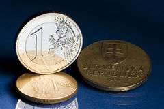 Euro and old Slovak koruna Stock Photo