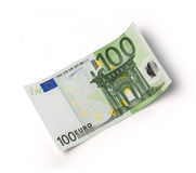 100 euro. One banknote 100 euro isolated on white with clipping path Royalty Free Stock Image