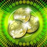 Euro op groene achtergrond Stock Foto