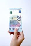 20 euro op hand Stock Afbeeldingen