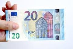 20 euro op hand Stock Afbeelding
