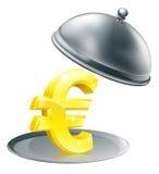 Euro op zilveren schotelconcept Royalty-vrije Stock Foto's