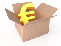 Euro in opened box Royalty Free Stock Photos