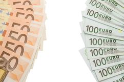 100 euro opposite 50 euro. Note isolated Royalty Free Stock Photography
