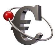 Euro orbit. Red sphere fly around metal euro symbol - 3d illustration Royalty Free Stock Image