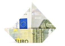 Euro origami boat Stock Image