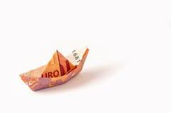 Euro origami d'argent de bateau Images stock