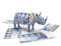 Euro origami rhino Royalty Free Stock Images