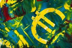 Euro orizzontale della pittura del segno su materiale di carta Fotografia Stock