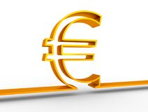 Euro money symbol. Euro outline symbol on white backdrop. 3D rendering Royalty Free Stock Photos