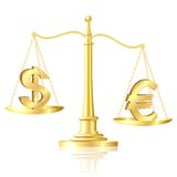 Euro outweighs Dollar on scales. Royalty Free Stock Photography
