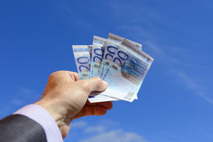 Euro over blue sky Stock Images