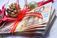 Euro package for gift christmas - closeup Stock Images