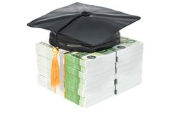 Euro packs with graduation cap. Savings for education concept, 3. D Royalty Free Stock Photography