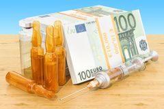 Euro packs with syringe and ampules on the wooden table. 3D rend. Euro packs with syringe and ampules on the wooden table. 3D Royalty Free Stock Photos