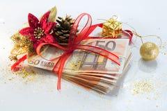 Euro pakket voor giftkerstmis stock foto's