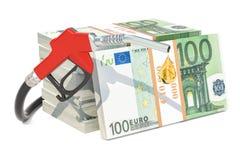 Euro pakuje z paliwowej pompy nozzle, 3D rendering Zdjęcia Stock